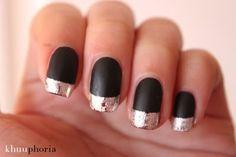 Matte/Flat Black Polish w/Metallic Silver Foil French Tips