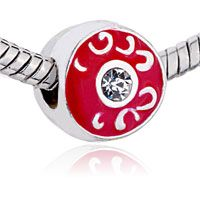Pugster Red Drip With Silver Plated European Beads