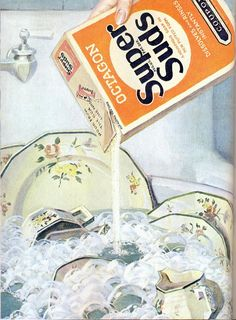 1929 ad for soap, love these old dishes in the sink!