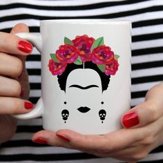Frida Kahlo Mug Frida and Diego Mexican Art Coffee & Tea Painted Flower Pots, Painted Pots, Pottery Painting, Ceramic Painting, Frida And Diego, Frida Art, Mexican Art, Cute Mugs, Diy Arts And Crafts