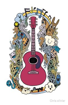'hand drawing doodle acoustic guitar flat design' by Chris olivier Iphone Wallet, Iphone Cases, Dresses With Leggings, Flat Design, Acoustic Guitar, Wall Tapestry, Decorative Throw Pillows, How To Draw Hands, Doodles