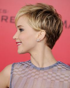 Jennifer Lawrence's Pixie: Here, she went with a more bedhead look — plus, you can see the cut from the side.