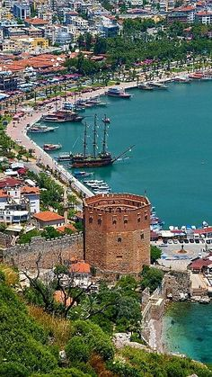 Harbour view, Alanya, Turkey - photo by Darrell Godliman. The Red Tower (Kızıl Kule) is a well-known building in Alanya. Wonderful Places, Great Places, Places To See, Beautiful Places, Beautiful Pictures, Places Around The World, Travel Around The World, Around The Worlds, Alanya Turkey