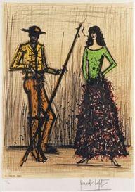 Artwork by Bernard Buffet, LE PICADOR ET LA FEMME, Made of lithograph