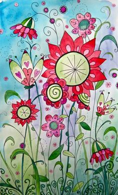 Watercolor flowers. Have students add designs inside the center and petals of…
