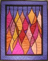 Abstracted stained glass quilt