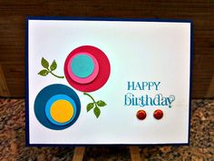 Birthday Circles Greeting Card Stampin Up Flowers Hand by ljhomer1,