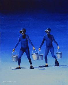 """CORVEE D'EAU - Water fatigue duty - Oil on canvas by Pascal Lecocq The Painter of Blue  24x19cm 9 """"x 7 """" Lec417 1995 priv.coll. Rouen France. pascal lecocq #fantasia #dukas #disney #art #blue #painterofblue #painting #painter #artist #contemporaryartcurator #artstack #artisticallysocial #artcartridge #artcollectae #glarify #in #pint.  Inspired by the sequence about Paul Dukas Sorcerers Apprentice in the movie Fantasia by Walt Disney (1940)."""