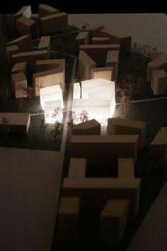 modello retroilluminato in scala urbanistica del masterplan CASANOVA a Bolzano - dettaglio retroilluminato