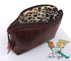 Brown Vegan Leather with Cheetah Lining Zippered by JustSewHappens, $14.99