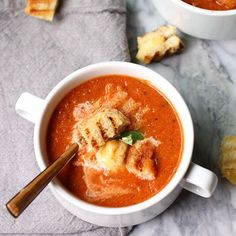 A simple and healthy tomato soup topped with grilled cheese croutons. Meatless and a quick dinner idea!