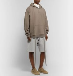 Fear Of God Belted Corduroy-trimmed Fleece-back Cotton-jersey Shorts In Heather Grey Pleated Fabric, Lounge Shorts, Jersey Shorts, Fleece Fabric, Corduroy, Heather Grey, High Fashion, Normcore, Belt