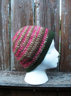 Crochet skullcap beanie in pink and olive ready to ship by luvbuzz