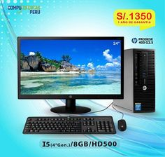 "Computadora HP Core i5 3.0Ghz (4ta.Gen)+LED 24"" ...S/.1350 ================================================== * Marca: HP Modelo: ProDesk400 G2.5 Core I5 4ta.Generacion * Computadora Clase Empresarial (Business Class) * Procesador Intel Core i5 4590S de 3.0Ghz (4 Cores) * 6mb Smart Cache / Max Turbo Frequency 3.70 Ghz * Procesador Intel Turbo Boost Technology 2 (QuadCore) * Memoria Ram 8GB Bus 1600mhz.  * Disco Duro de 500GB Sata 7200rppm 3.5"" * Placa Madre Intel H81 Express * Slot PCi…"