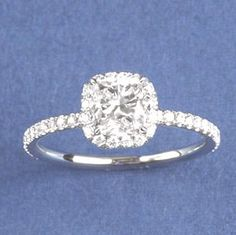 micropave cushion cut square diamond with rounded edges and halo  Dang. This is truly my dream ring. Perfect.