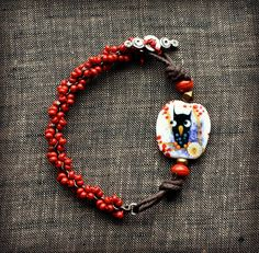Berry Owl Bracelet by LoreleiEurtoJewelry on Etsy