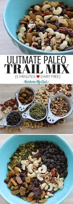 Ready in only 5 minutes and full of good fats and protein. This recipe has a balance of nuts, seeds, dried fruit and dark chocolate chips-perfect for trailside noshing! A great clean eating snack. Healthy Diet Recipes, Healthy Snacks, Cooking Recipes, Paleo Food, Easy Snacks, Protein Recipes, Paleo Diet Snacks, Paleo Nuts, Paleo Fruit