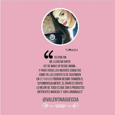 @valentinagueccia conoció la experiencia tumaqui y compartió su opinión. - Yeiii por fin me llegó mi súper kit de make up desde Miami Y para todas las mujeres coquetas como yo les cuento que si se suscriben en @tumaqui podrán recibir mensualmente el suyo. Lo mejor de todo es que son 5 productos de diferentes marcas y 100% originales. - #experienciatumaqui  #makeuplover  #lifestyle