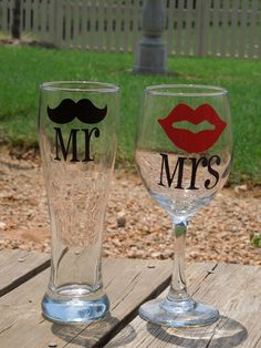 Mr & Mrs Moustache and Lips Pilsner and Wine Glass - Wedding Gift ...