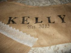 Burlap Tablerunner with lace edging, stencils and fabric paint