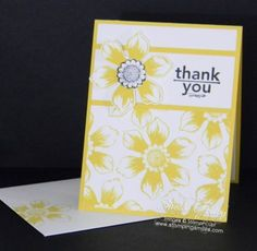 Stampin' Up! Beautiful Bunch Thank You Card.  . Daffodil Delight