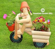 Tricycle planter & Rider  Boy or Girl #flowerpotgardengiftscom