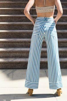 Rachel Antonoff SALE 20% OFF- Blue Stripe Crop Flare | BONA DRAG