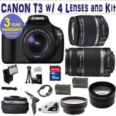 Canon Rebel T3 12.2 MP CMOS Digital SLR Camera with EF-S 18-55mm f/3.5-5.6 IS II Zoom Lens & EF-S 55-250mm f/4.0-5.6 IS Telephoto Zoom Lens + Wide Angle .45x Lens + 2x Telephoto Lens + 16GB Deluxe Accessory Kit Price:$867.20  dsd