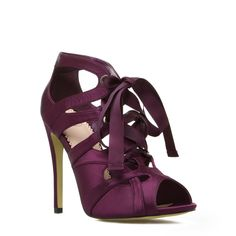Viktoria - ShoeDazzle - Sweet styling. These lace up satin sandals are perfect for date night.