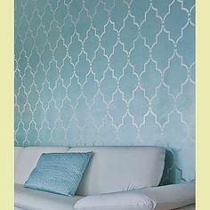 Glossy painted Marrakech Trellis pattern, stenciled onto a matte wall. Beautiful.