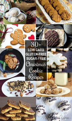35 Low Carb, Sugar-free Christmas Cookies Recipes Collection (Roundup) - This collection of gluten-free, low carb sugar-free Christmas cookies recipes has all the variety you could possibly want! Sugar Free Desserts, Sugar Free Recipes, Gluten Free Desserts, Cookie Recipes, Keto Recipes, Diabetic Recipes, Healthy Recipes, Sugar Free Christmas Cookie Recipe, Christmas Baking
