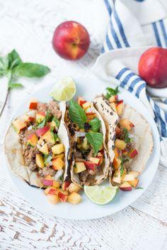14. 20-Minute Turkey Tacos With Peach Basil Salsa #healthy #taco #recipes http://greatist.com/eat/healthy-taco-recipes