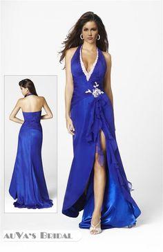 A-Line Halter Brush Train Sleeveless Taffeta & Chiffon RoyalBlue Prom Dress (SAS 6090)
