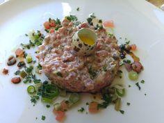 Steak Tartare at Bistro Stellenbosch Steak Tartare, Dishes, Meat, Beautiful, Food, Tablewares, Essen, Meals, Yemek
