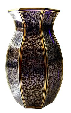 Kobaltblaue Bleikristallvase, Josephinenhütte, signiert
