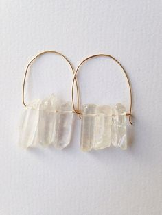 Crystal quartz point earrings by azadouhijewelry on Etsy, $28.00