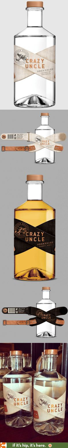 The label designs for Australia's Crazy Uncle Moonshine were inspired by a strait jacket and designed by Zendoke. Missed this packaging ystd. National Moonshine Day. PD