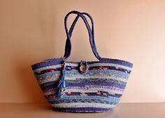 Lady in Blue All BLUES Basket Summer Bag BOHOCHIC by Annas7Closet