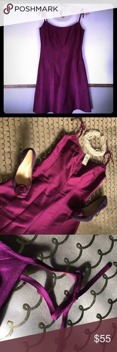 """💕NWT Silk ANN TAYLOR Bow Strap Dress💕 This beauty is 100% dupioni silk with a full acetate lining. A refined violet in a world of LBDs, its elegant. Audrey Hepburn styling will set you apart wherever you are. Meticulous tailoring unusual in a dressy dress--princess seams will make you look like royalty! The pictured Kate Spade heels pair beautifully with it. Forget plunging necklines and try a little ladylike charm! About 30"""" long; waist 14.5"""" flat; 15.5"""" flat armpit to armpit. Ann Taylor…"""