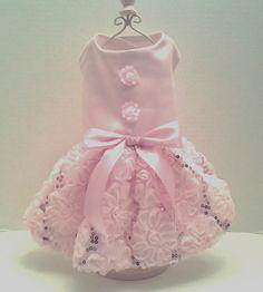 Dog Dress Pink Satin with Ribbon Skirt by ChicDoggieBoutique