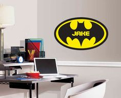 """Personalized Batman Monogram for Boys Room - EXTRA LARGE Vinyl Wall Decal  22"""" x 34"""""""