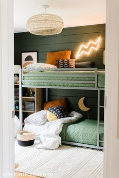 Boy And Girl Shared Room, Shared Boys Rooms, Bunk Beds For Boys Room, Bunk Bed Rooms, Big Boy Bedrooms, Boy Bunk Beds, Boys Shared Bedroom Ideas, Boys Room Ideas, Vintage Boys Bedrooms