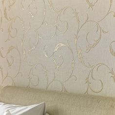 Athena White Gold Wallpaper by Graham & Brown Cream And Gold Wallpaper, Gold Wallpaper Living Room, Glitter Wallpaper Bedroom, Metallic Wallpaper, Embossed Wallpaper, Modern Wallpaper, White Wallpaper, Wallpaper Roll, Grey Textured Wallpaper