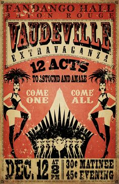 This piece was created for a client who was looking for a vintage broadside look for a poster. It wasn't meant to advertise anything, rather to be just an accent piece. I created the original artwork in vector then applied the finishing touched in Photosh Cirque Vintage, Vintage Burlesque, Vintage Carnival, Vintage Advertisements, Vintage Ads, Vintage Images, Vintage Posters, Cabaret, Retro Poster
