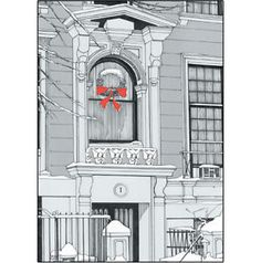 Pack-of-5-New-York-City-Christmas-Cards-Brownstone-Winter-No-x17-$10. front of card
