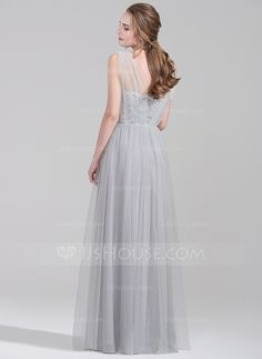 A-Line/Princess Sweetheart Floor-Length Tulle Lace Bridesmaid Dress With Ruffle (007072822)