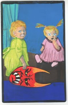 Love Scare My Sister small original US outsider artist brut painting mixed media #Outsider