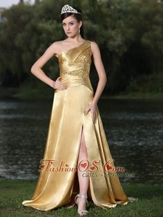 High Slit Gold Plus Size Prom Dress In Formal Party With One Shoulder Beaded Decorate    http://www.fashionos.com  This is a shimmering gorgeous gold prom dress! The dress accented with asymmetrical one shoulder neckline, and pleats with highly beaded sequence fabric encrusted over the bodice to define your slim figure. The split in the floor length skirt creates the sexy and modern stylish of the dress.
