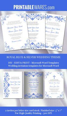 cobalt blue wedding invitations ideas pinterest - Royal Blue And Silver Wedding Invitations