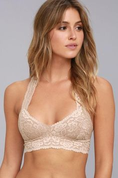ad05f8651d Free People Galloon Racerback Nude Lace Bralette